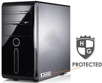 desktop computer, showing asset label in position