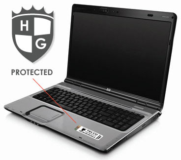 laptop with asset tag applied